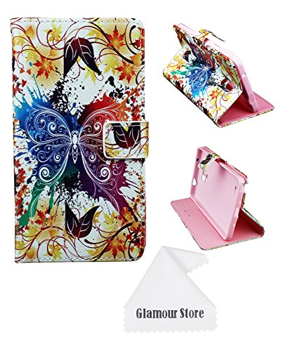 Galaxy Note 4 Case,Butterfly Flower Printed Pattern Leather Wallet Flip Protective Skin Case Cover with Credit Card Holder For Samsung Galaxy Note 4+ Free Cleaning Cloth As a Gift