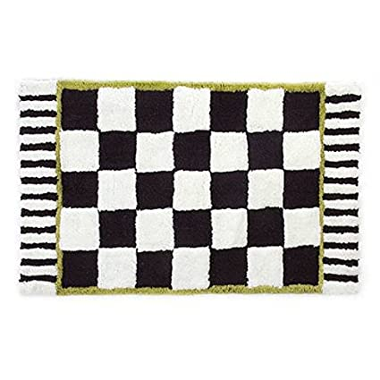 MacKenzie Childs Courtly Check And Stripped Black And White Bath Mat 100%  Cotton
