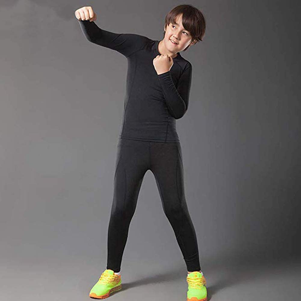 BUYKUD Kids Boys Long Sleeve Base Layer Compression Underwear Athletic Shirt Tights Top /& Bottom Set