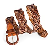 Ladies Woven Braided Leather Belt Brown