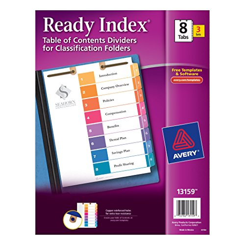 Wholesale Avery Ready Index Table of Contents Dividers for Classification Folders, 8-Tabs per Set, Pack of 3, 2-hole top punched at the Top of each Page (13159) free shipping
