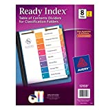 Avery Ready Index Table of Contents Dividers for Classification Folders, 8-Tabs per Set, Pack of 3, 2-hole top punched at the Top of each Page (13159)