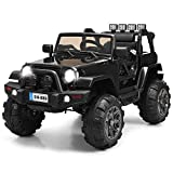 Costzon Ride On Truck, 12V Battery Powered Electric Ride On Car w/ 2.4 GHZ Bluetooth Parental Remote Control, LED Lights, Double Doors, Safety Belt, Music, MP3 Player, Spring Suspension (Black)