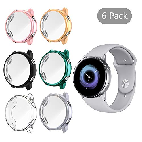 ([6 Pack] LittleForest Cases Compatible for Samsung Galaxy Watch Active Case, Full Body Protection TPU Anti-Scratch Cover for Samsung Watch Active 40mm- [Black+Gray+Clear+Green+Pink+Rose Gold] )