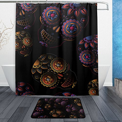 Sugar Skull Shower Curtain Polyester Fabric Bathroom Curtain Set with Mats Rugs-12 - Salt Frames Eyeglasses
