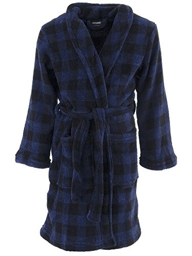 Championship Gold Big Boys' Blue Black Plaid Fleece Bathrobe 7-8