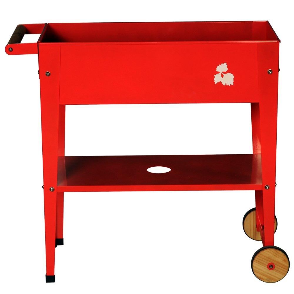 Planta con ruedas/Bancal 75 x 35 x 80 cm con ruedas en color rojo ...
