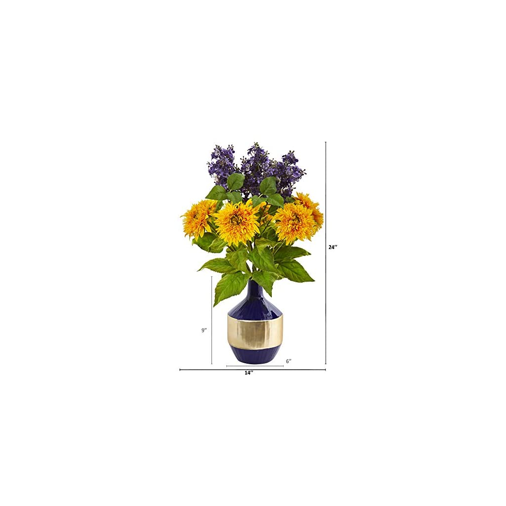 Nearly Natural 24in. Sunflower and Lilac Artificial Blue ...