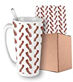 Delicious High Protein and Fat Meal Pattern on White Background Burnt Orange Pale Maroon White Ceramic Cup with Spoon & Coaster Creative Morning Mug Milk Coffee Tea Unique Porcelain Cup Mug 16oz