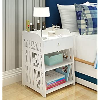 Mybestfurn Heightening Drawer Nightstand With 3 Small Storage Cell On Top  Carved Bedside Table Bedend Cabinet