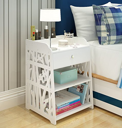 Mybestfurn Heightening Drawer Nightstand With 3 Small Storage Cell On Top Carved Bedside Table Bedend Cabinet Multipurpose Dampproof Storage Furniture – 1 Drwaer 40X40X60CM MB276N