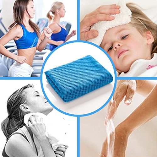 OMOTON High tech Cooling Towel for Instant Relief Soft Breathable Mesh Yoga Towel Keep Cool when Running Biking Hiking and all Other Sports