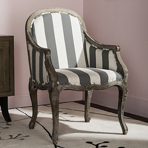 Safavieh Mercer Collection Esther Grey & Off-White Striped Arm Chair -  MCR4575B