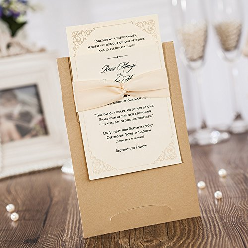 WISHMADE Wedding Invitations Jofanza Laser Cut Printable Cards with Envelopes Kraft Insert for Engagement Baby Shower Birthday Quinceanera (50 -