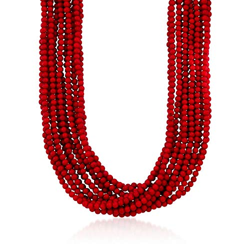 Ross-Simons Multi-Strand Red Coral Bead Necklace in 18kt Gold Over Sterling Silver 17