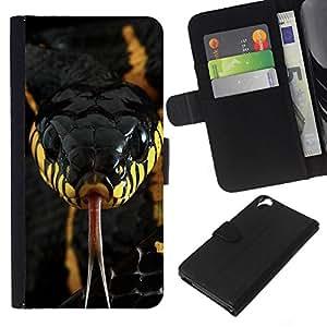 KLONGSHOP // Tirón de la caja Cartera de cuero con ranuras para tarjetas - veneno de serpiente venenosa de color amarillo negro - HTC Desire 820 //