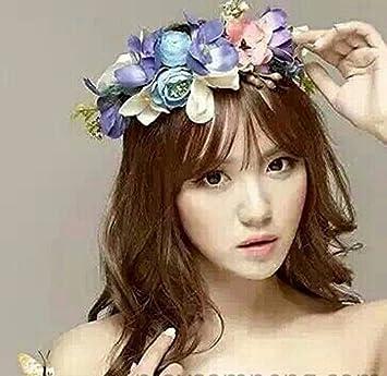 Amazon.com   Bridal Flower Crown Wedding Blue Headband  S2 (MSK)   Beauty 6ed7dd8f1a8