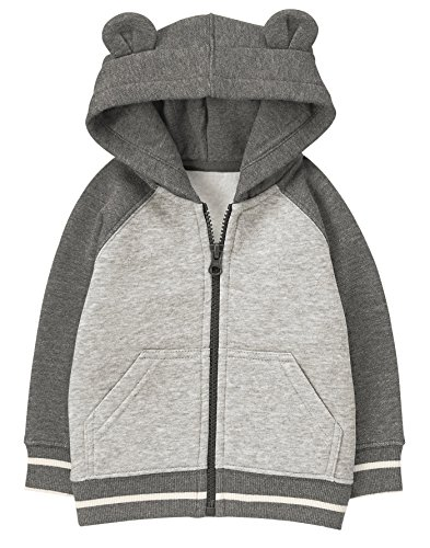 Quilted Hooded Zip Sweatshirt (Gymboree Baby Boys Quilted Bear Zip Hoodie, Grey, 6-12 MO)