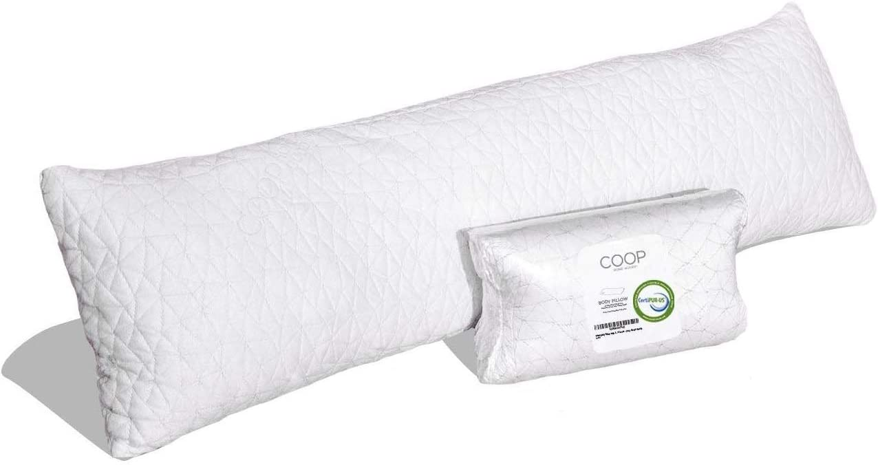 Coop Home Goods - Adjustable Body Pillow - Hypoallergenic Cross-Cut Memory Foam – Perfect for Pregnancy - Lulltra Zippered Washable Cover - CertiPUR-US and GREENGUARD Gold Certified - 20x54: Home & Kitchen