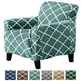 Great Bay Home Modern Velvet Plush Strapless Slipcover. Form Fit Stretch, Stylish Furniture Shield/Protector. Magnolia Collection Strapless Slipcover Brand. (Chair, Aqua)