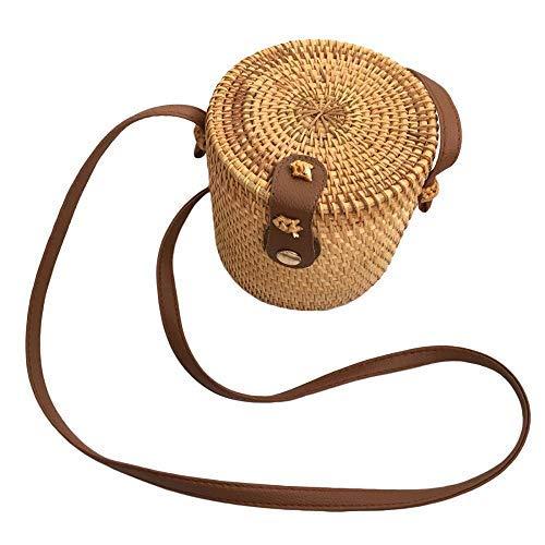 - Womens Bucket Straw Bag Woven Crossbody Summer Beach Bag