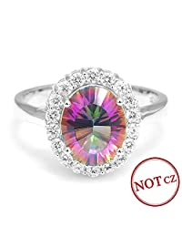 AYT 3ct Natural Mystic Fire Rainbow Topaz Engagement Wedding Ring Women Solid Genuine 925 Sterling Silver New Fine Jewelry Hot