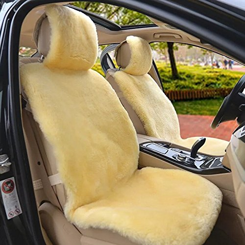 IMQOQ A Pair Genuine Sheepskin Short Wool Car 2 Front Seat Covers Set Winter Warm Universal Beige Yellow