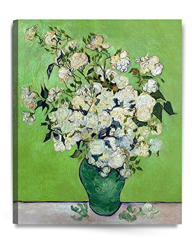 DecorArts Pink Roses in a Vase 24 by 30 – Inches Stretched Canvas Art Giclee Print ()