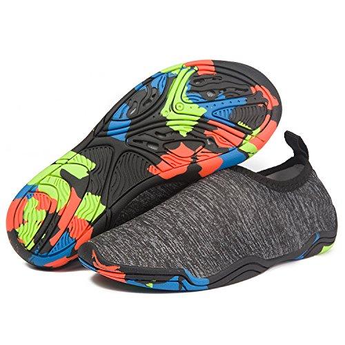 eslla Kids Water Shoes Slip-on Quick Drying Boys Girls Beach Swimming Water Sports Aqua Shoes (XL (US Little Kid 2.5-3.5), Dark Grey)