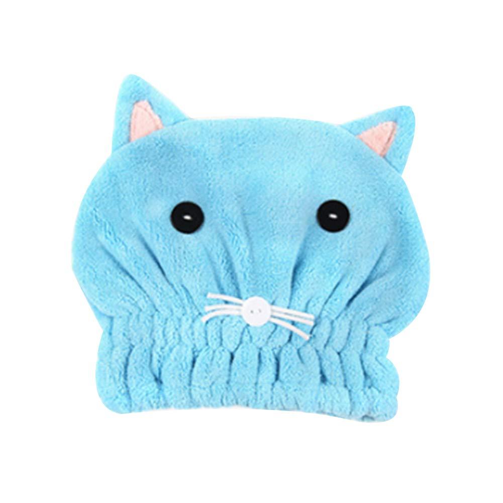 Hou Zhi Liang rapida asciugatura asciugamano da bagno in microfibra asciugamano simpatico gatto orecchie da bagno Tool super morbido assorbente capelli asciutti cappello Premium acqua-assorbente ability donne ragazze capelli secchi Cap 1PC (blu)