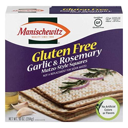 Manischewitz Passover Matzoh Box, Variety Pack - (1) Manischewitz Gluten Free Garlic Rosemary Matzo-Style Squares, 10 Oz. (1) Manischewitz Organic Matzah 10.Oz, (1) Organic Spelt Matzo Cracker, 10 Oz.