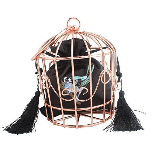 Women's elegant chain metal hollow cage clutch with Birdcage suspenders (ROSE GOLD)