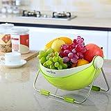 Lifewit Fruit Wash Bowl 360 Rotatable Lid Fruit Holder Centerpiece Vegetable Washing Basket Storage & Draining Basket, Food Grade ABS & Stainless Steel, Green (Fake Fruits not Included)