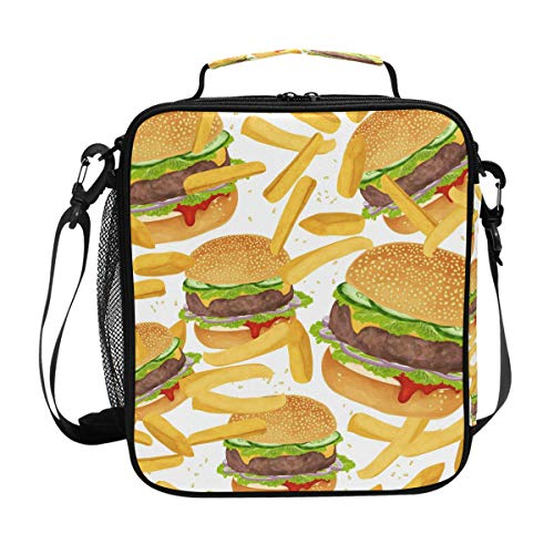 - FAJRO French Fries Beef Burger Lunch Tote Bag Insulated Thermal Cooler Lunch Bag