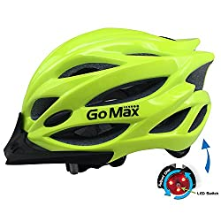 Gomax Aero Adult Safety Helmet Adjustable Road Cycling Mountain Bike Bicycle Helmet Ultralight Inner Padding Chin Protector & Visor W Rear Led Tail Light Adjust (Neon Lime With Led, Large)