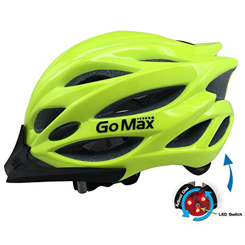204c806304 GoMax Aero Adult Safety Helmet Adjustable Road Cycling Mountain Bike  Bicycle Helmet Ultralight Inner Padding Chin Protector and Visor w Rear LED  Tail Light ...