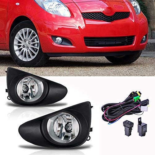 Ricoy For Toyota Yaris Sedan 4D 2007-2012 12V 55W H11 Halogen Bulb Clear Fog Driving Lights +Black Grill Cover +Wire harness Switch