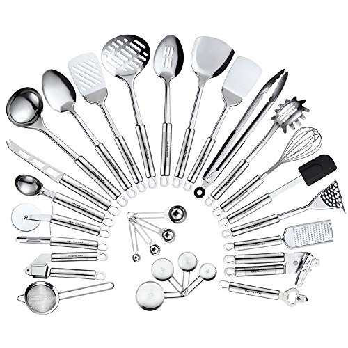 Maphyton Stainless Steel Kitchen Utensil Set - 29 Cooking Utensils Nonstick Cookware Set with Spatula Gadget Tools