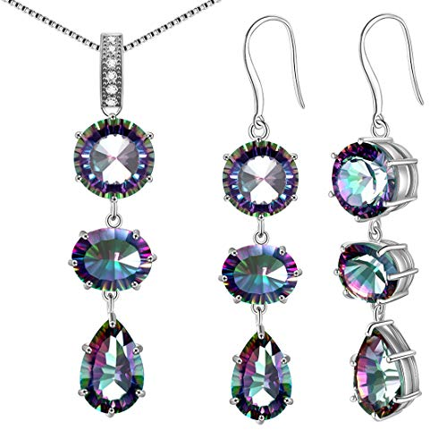 Aurora Tears Mystic-Topaz Jewelry Sets 925 Sterling Silver Women Crystal Gift Girls Dating/Wedding/Anniversary Present Fashion Jewellery DS0034W
