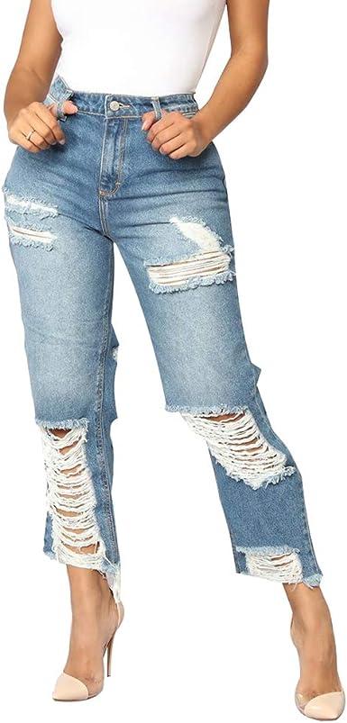 Hibote Mezclilla Pantalones Rotos Para Mujer Retro Vaqueros Con Cremallera Mujer Casual Jeans Largo Comodo Denim Pantalones Streetwear Amazon Es Ropa Y Accesorios