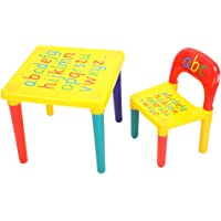 Children Table and Chair Set, Plastic Multi-Colour Table Seat Learning Desk Playroom Furniture for Boys and Girls