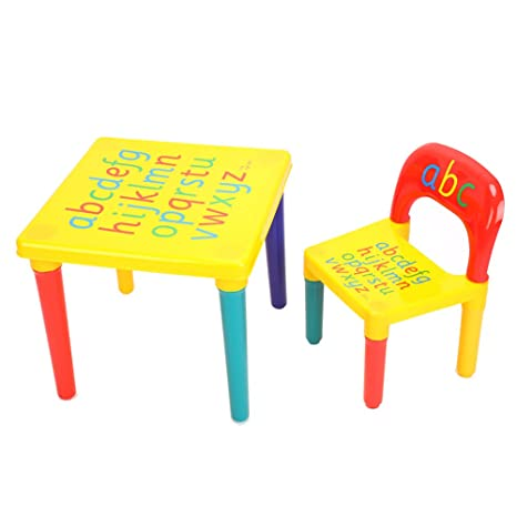 Amazon Com Yosoo Toddler Table And Chair Set 2 Pieces Alphabet