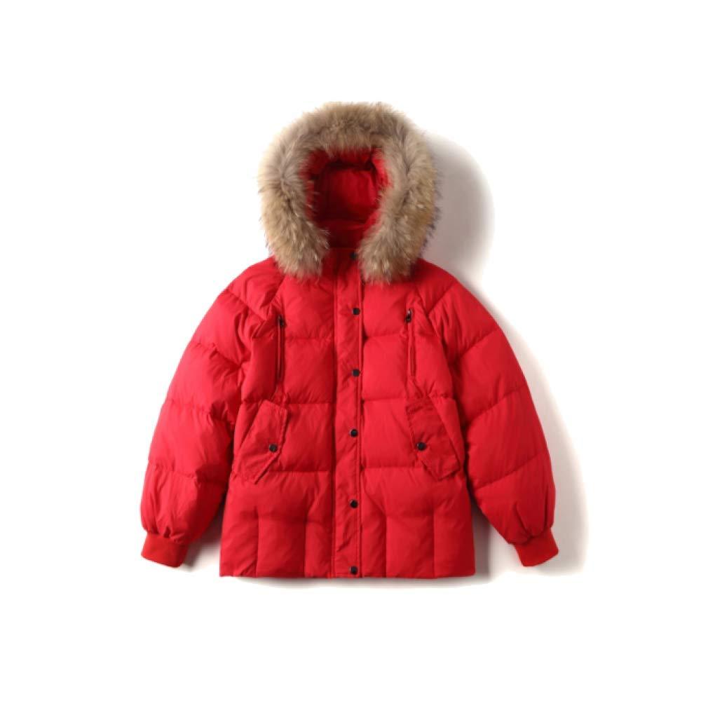 NIUMT Daunenjacke Damen Winter Europäischen Und Amerikanischen Pelzkragen Mit Kapuze Gefüttert Kurzmantel