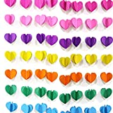 10ft x 2 pcs paper hearts garland. Valentine Day Party decorations. 7 different Colors hearts 3D Paper Hearts with Line. DIY hearts Garland.