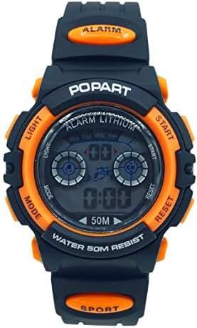 Aivtalk Kid Cute Watch Led 50M Water Resistant Digital Sports Watch Boys Gift Wristwatch With Time,Date,Week,Count Digit,Chime,El-Light - Orange Black