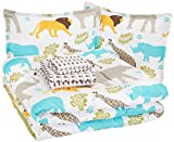AmazonBasics Easy-Wash Microfiber Kid's Bed-in-a-Bag Bedding Set - Full / Queen, Multi-Color Zoo Animals
