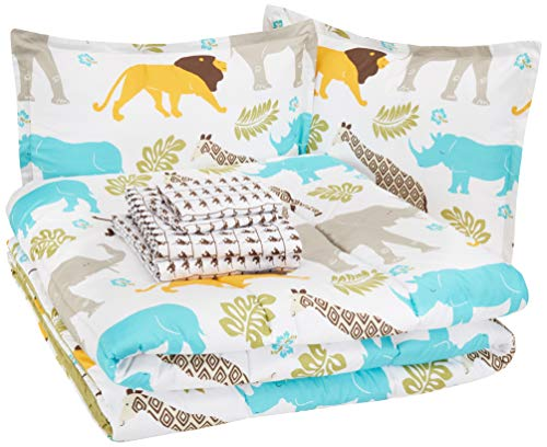 AmazonBasics Kid's Bed-in-a-Bag - Soft, Easy-Wash Microfiber - Full/Queen, Multi-Color Zoo Animals (Animal Sets Comforter)