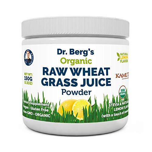 Dr Berg#039s Natural Lemon Flavored Wheat Grass Powder with KamutTM  Raw amp UltraConcentrated Nutrients Rich in Vitamins Chlorophyll amp Trace Minerals 1 Pack