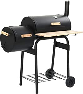 WWZH BBQ Charcoal Grill Offset Smoker with Wheels, Wood Shelf, Barbeque Cooker Smoker, Outdoor Cooking for Backyard Patio Camping Home