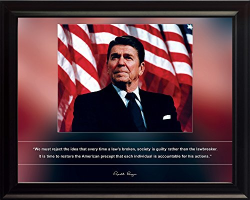 Ronald Reagan Photo Picture Poster Framed Quote We Must Reject The idea That Every time a law's Broken US President Portrait Famous Inspirational Motivational Quotes (8x10 Framed)